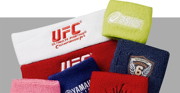 custom terry cloth wristbands and headbands